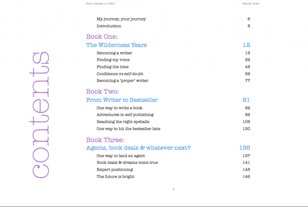 wannabe writer contents page