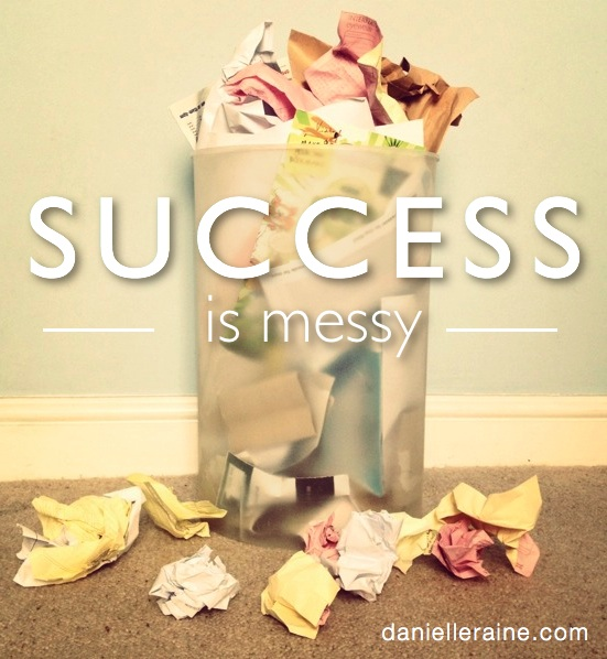 success is messy pin overflowing paper bin
