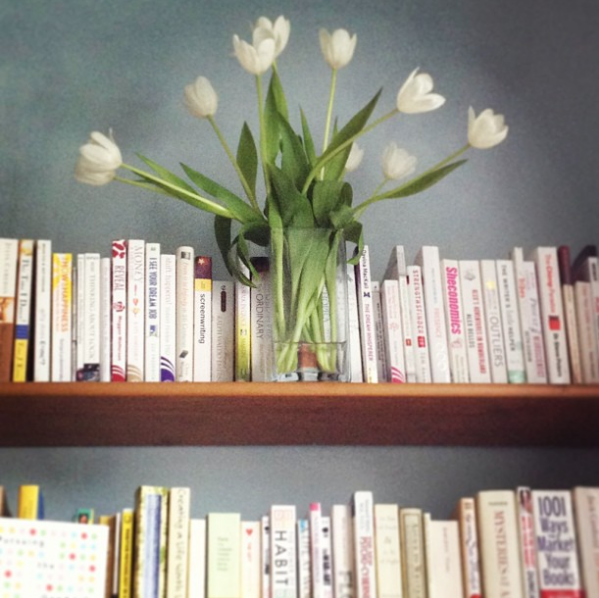blossoming tulips & books