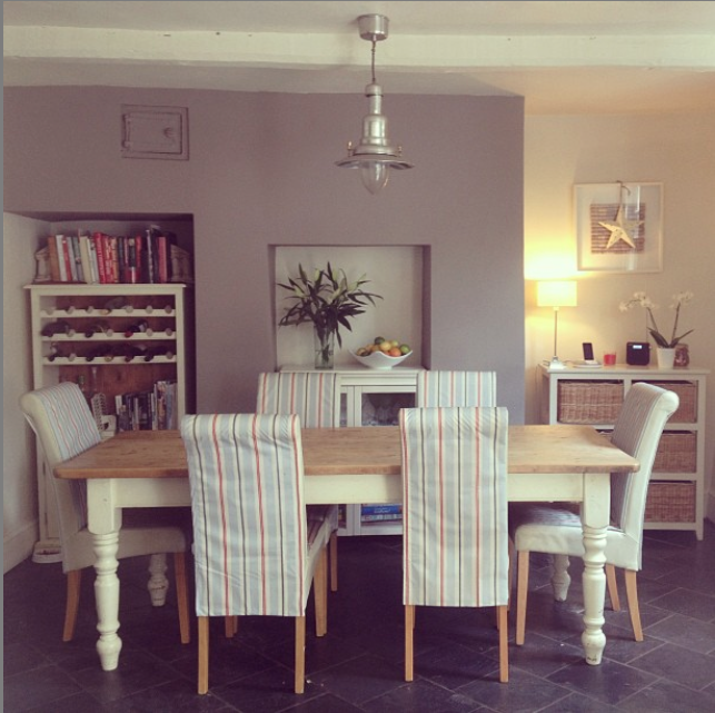 tidy dining room stripy chairs