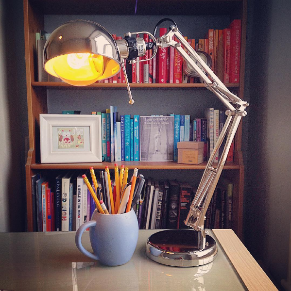 writing desk lamp bookshelf