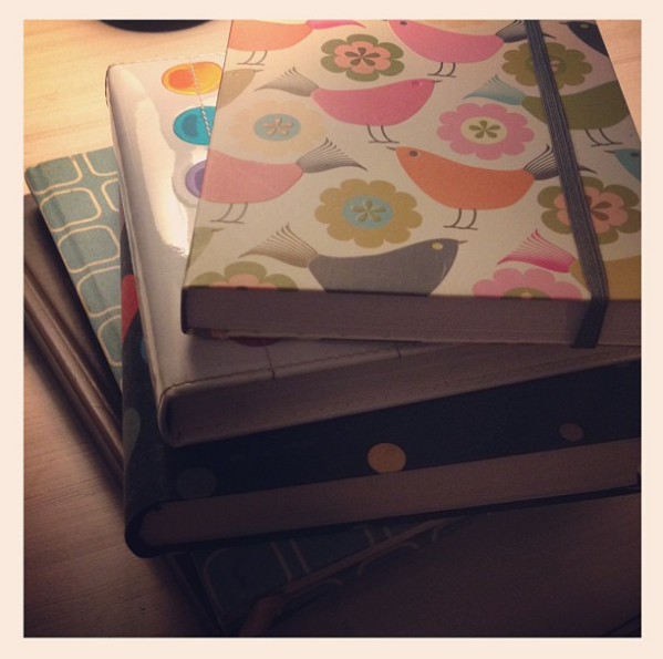 journals notebooks stack