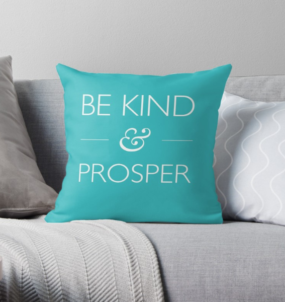 Be Kind & Prosper teal throw cushion