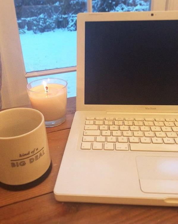 i love writing books laptop mug candle snow day