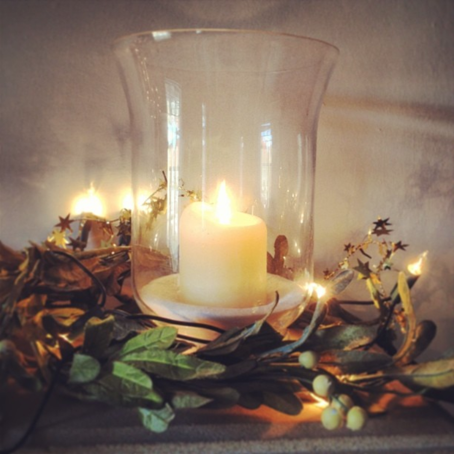 hearth candle christmas garland fairy lights