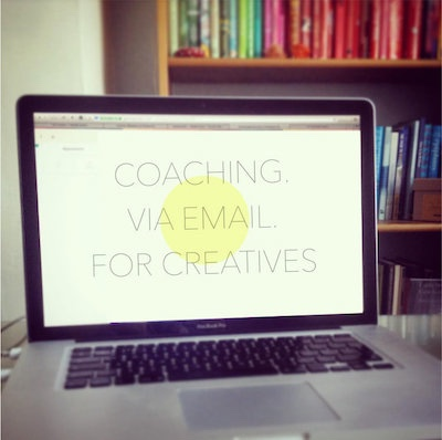 Coaching-via-email for creatives -laptop-bookcase 400