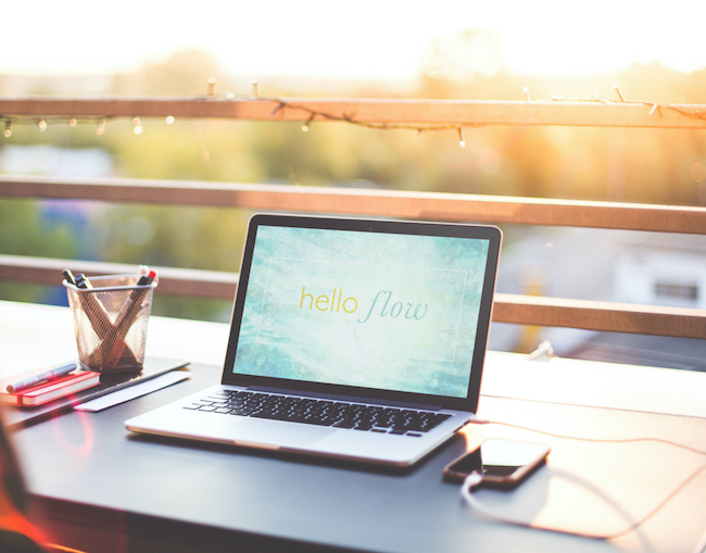 Hello flow online course for creatives laptop table small