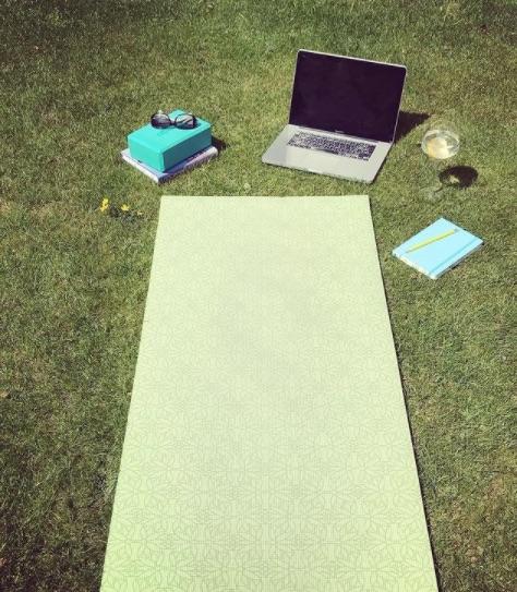 yoga mat laptop garden sunshine copy
